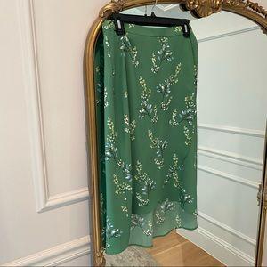 LOFT Green Floral Print Wrap Skirt